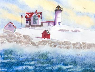 Cape Neddick Lighthouse Painting - Winter At Nubble Lighthouse  by Roseann Meserve