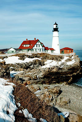 Portland Head Light Photograph - Winter At Portland Head by Greg Fortier