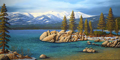 Pine Tree Painting - Winter At Sand Harbor Lake Tahoe by Frank Wilson