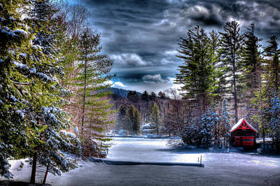 Print featuring the photograph Winter At The Boathouse by David Patterson