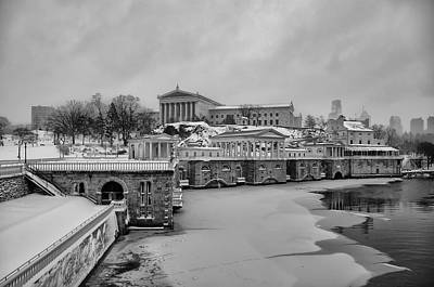 Waterworks Digital Art - Winter At The Fairmount Waterworks In Philadelphia In Black And  by Bill Cannon