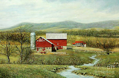 Red Barn In Winter Painting - Winter Coming At The Farm by George Voyajolu