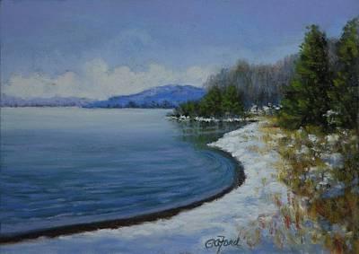 Winter At The Lake Art Print by Paula Ann Ford