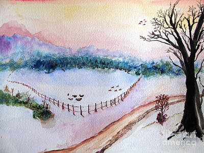 Painting - Winter At The Lake by Sandy McIntire