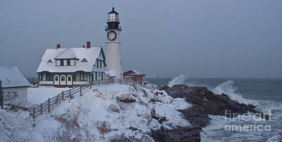 Winter At The Lighthouse Art Print by David Bishop