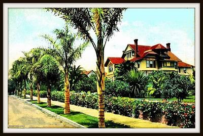 Garden Scene Mixed Media - Winter At The Williams Residence, Santa Barbara Ca, 1910 by Dwight GOSS