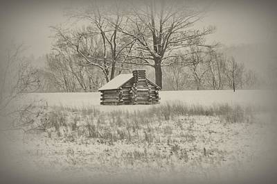 Log Cabins Digital Art - Winter At Valley Forge by Bill Cannon
