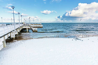 Photograph - Winter Baltic Sea Scenery. Pier In Gdansk Brzezno, Poland by Michal Bednarek