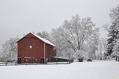 Winter Barn Art Print by Ann Bridges