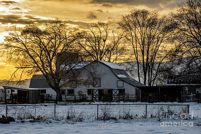 Winter Barn At Sunset - Provo - Utah Art Print by Gary Whitton