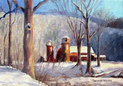 Winter Scene Painting - Winter Barn by Bonnie Mason