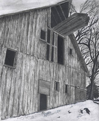 Old Barn Drawing - Winter Barn by Bryan Baumeister