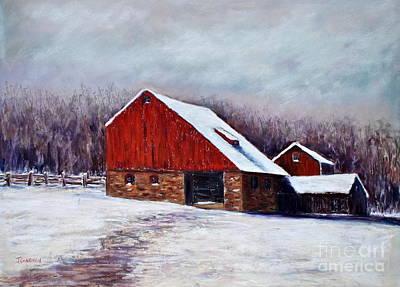 Winter Barn Bucks County Pennsylvania Art Print by Joyce A Guariglia