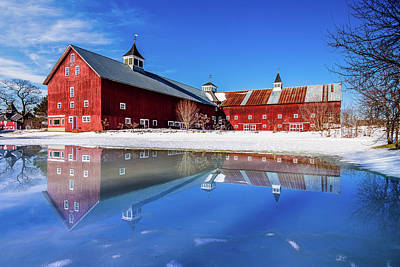 Photograph - Winter Barn Reflection by Tim Kirchoff