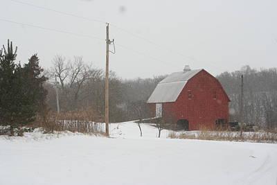 Winter Barn Scene  Art Print by Eric Irion