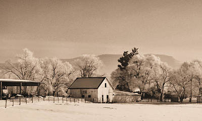 Barns In Snow Photograph - Winter Barn -sepia by Denise Jenks