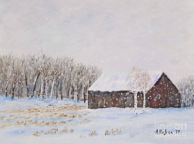 Painting - Winter Barn by Stanton Allaben