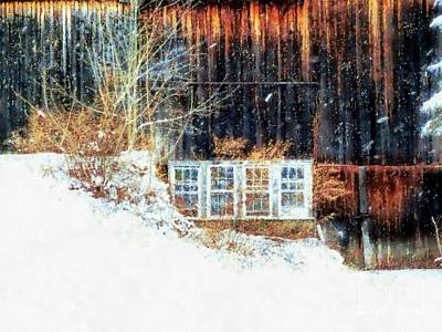 Photograph - Winter Barn Window Views by Janine Riley