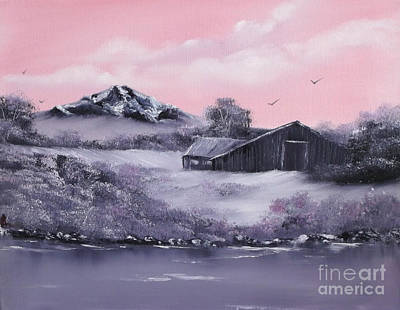 Pastel Barns Painting - Winter Barns by Cynthia Adams
