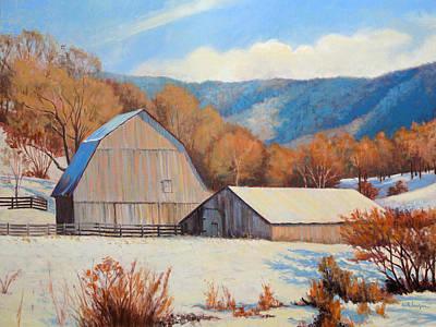 Winter Barns Art Print by Keith Burgess