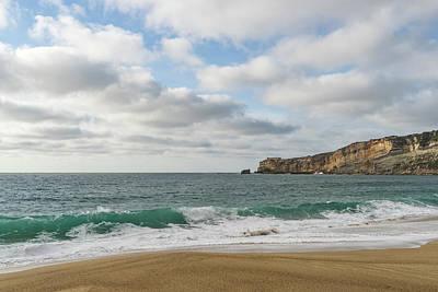 Photograph - Winter Beach - Aquamarine Wave At Nazare Portugal by Georgia Mizuleva