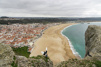 Photograph - Winter Beach - Nazare Portugal From The Clifftops by Georgia Mizuleva