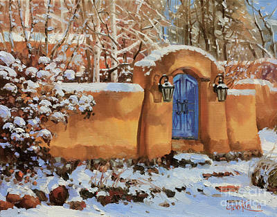 Cafes Painting - Winter Beauty Of Santa Fe by Gary Kim