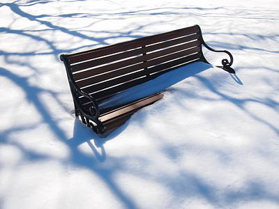 Photograph - Winter Bench by Rod Stewart