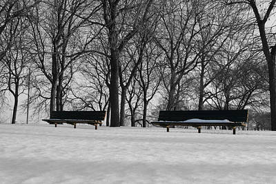 Photograph - Winter Benches by Dylan Punke