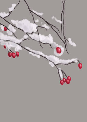 Digital Art - Winter Berries And Branches Covered In Snow by Boriana Giormova