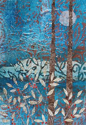 Mixed Media - Winter Berries And Full Moon by Janyce Boynton