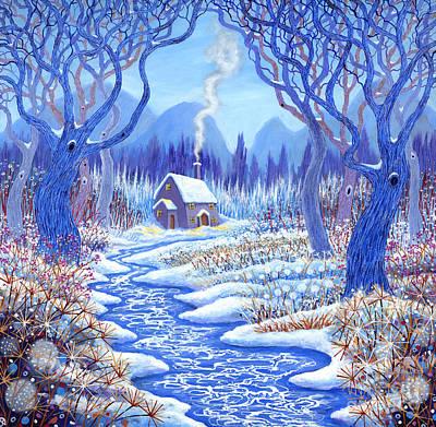 Woodlands Scene Painting - Winter Berries by David Newton