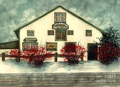 Painting - Winter Berries - Old Lumberyard Antiques by Janine Riley