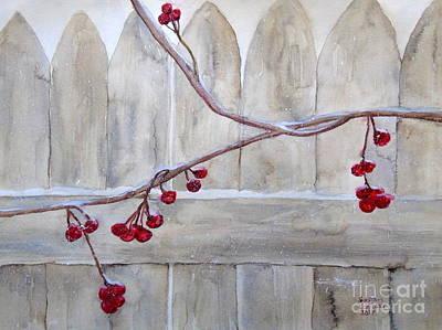 Painting - Winter Berries Watercolor by Susan Lafleur