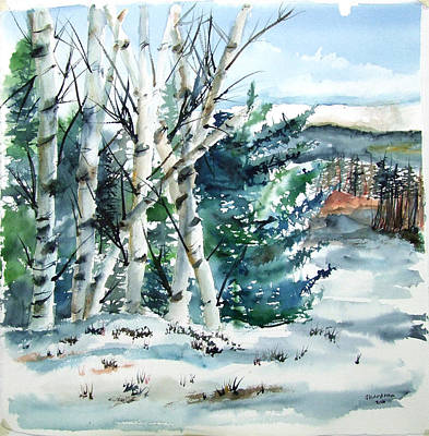 Painting - Winter Birches by Jan Anderson