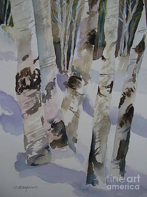 Print featuring the painting Winter Birches by Sandra Strohschein