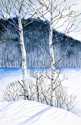 Peaceful Scene Painting - Winter Birches by Virginia McLaren