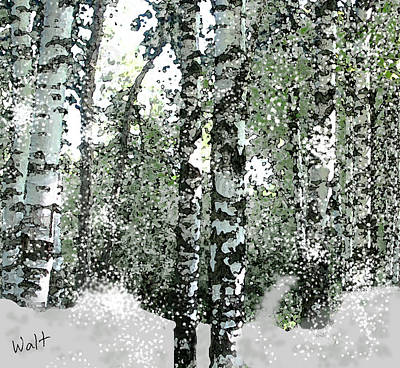 Art Print featuring the digital art Winter Birches by Walter Chamberlain