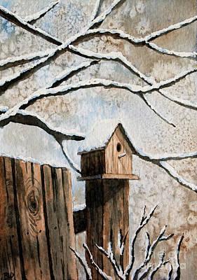 Painting - Winter Bird House by Rebecca Davis