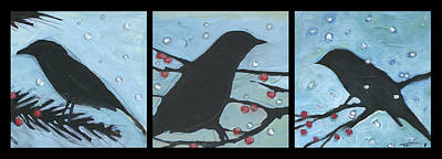 Painting - Winter Bird Triptych by Tim Nyberg