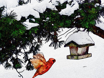 Winter Birdfeeder Print by Anthony Caruso