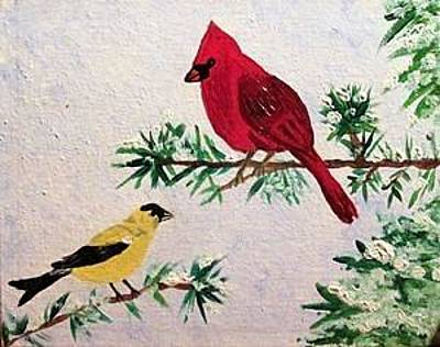 Animals Paintings - Winter Birds by Stacy Krise