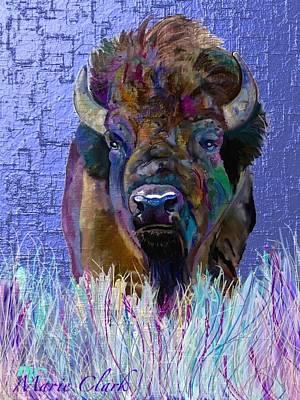 Bison Digital Art - Winter Bison by Marie Clark