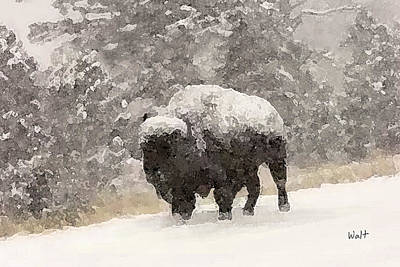 Print featuring the digital art Winter Bison by Walter Chamberlain