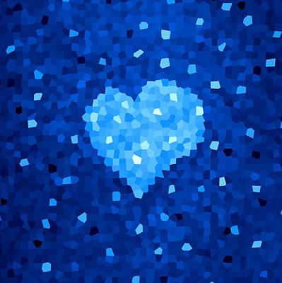 Winter Blue Crystal Heart Art Print by Boriana Giormova