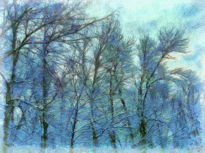 Digital Art - Winter Blue Forest by Leslie Montgomery