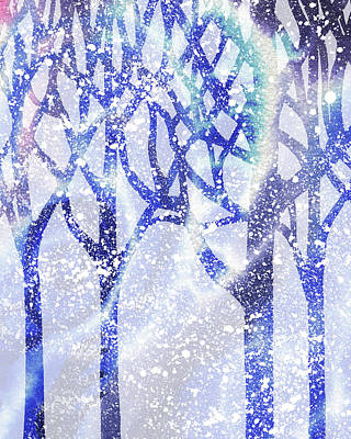 Painting - Winter Blue Forest Silhouette by Irina Sztukowski