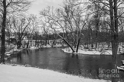 Photograph - Winter Blue James River Grayscale by Jennifer White