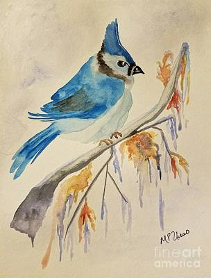 Bluejay Painting - Winter Bluejay by Maria Urso