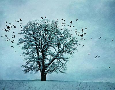 Snowy Trees Mixed Media - Winter Blues by KaFra Art